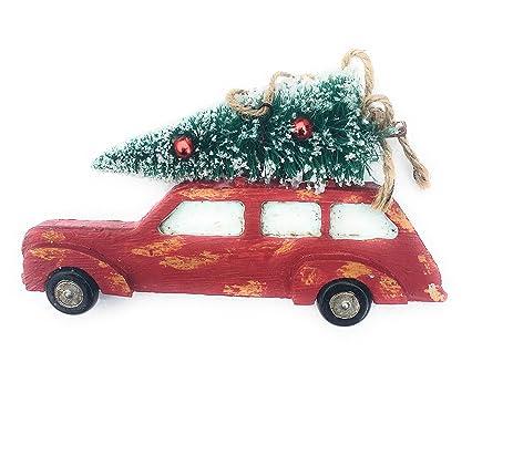 1950s vintage red truckstation wagon christmas tree ornament