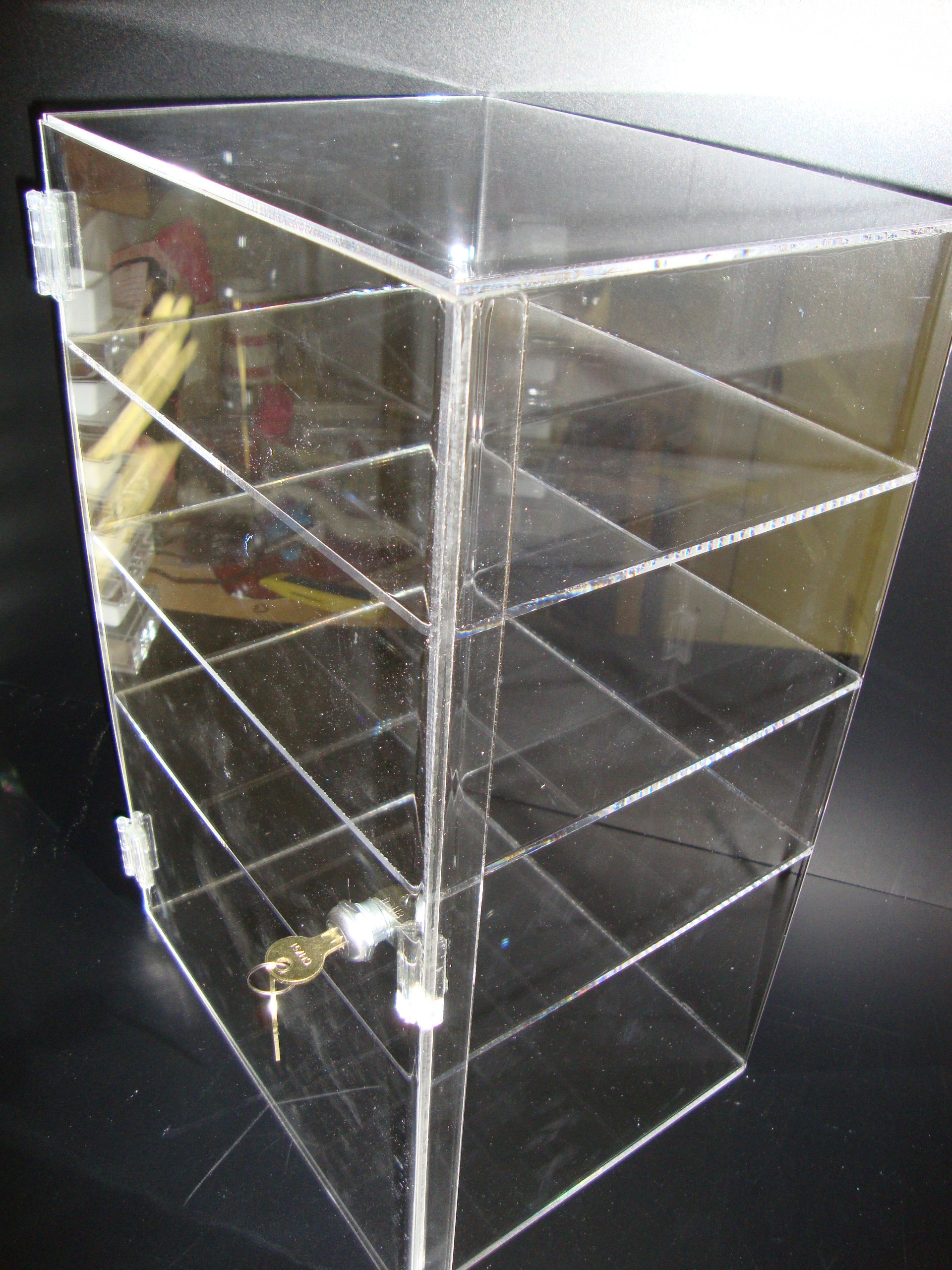Marketing Holders Display Acrylic Lucite Showcase Jewelry Pastry Bakery Counter Display W/door & Lock (12'' x 9 1/2'' x 19''H)