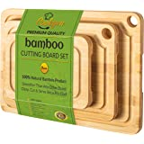 Cookgen Bamboo Cutting Board With Juice Groove (3-Pcs set), Sturdy Chopping Board, Pre-Oiled Wood Cutting Board for kitchen,