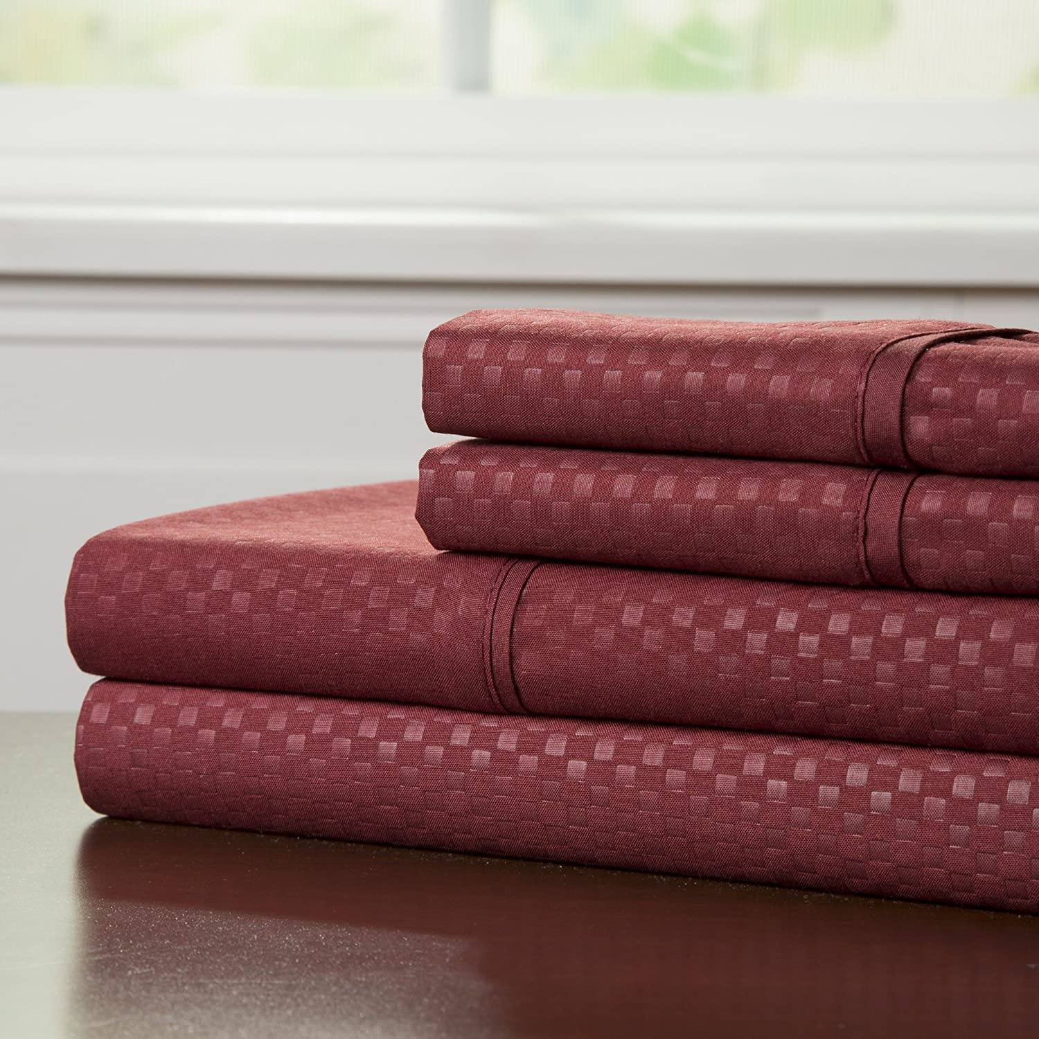 Brushed Microfiber Sheets Set- 4 Piece Hypoallergenic Bed Linens with Deep Pocket Fitted Sheet and Embossed Design by Lavish Home (Burgundy, Full)