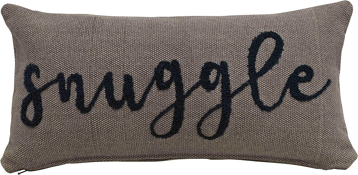 Creative Co-op Snuggle Embroidered Rectangle Cotton Lumbar Pillow, Navy