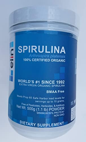 Elin Spirulina Powder Dietary Supplement Certified USDA Organic Purity and Nutrient Density Non-GMO, BMAA Free 500 Grams