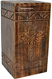Wooden Box Urns for Human Ashes Maple Cross - 250 Cu//in Rosewood Cremation Urns for Ashes Funeral Urns Hind Handicrafts Urns for Human Ashes Adult Burial Urns for Columbarium Large URNS Ashes
