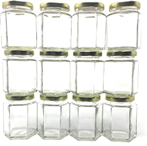 6 oz Hexagon Glass Jar with Gold Metal Lid by Richards Packaging 12-pack