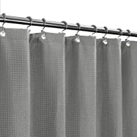 (Gray) - Waffle Weave Fabric Shower Curtain - Spa, Hotel Luxury, Heavy Duty, Water Repellent, Grey - Pique Diamond…