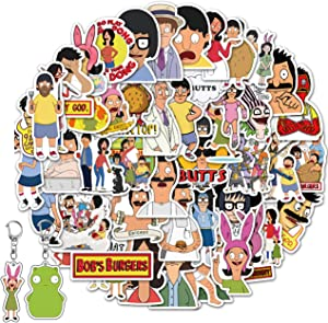 Kilmila Stickers for Bob's Burger 50Pcs(with Louise and Kuchi Kopi Keychain) .Gifts Bob's Burger Merch Party Supplies Vinyl Sticker for Laptop Luggage Graffiti