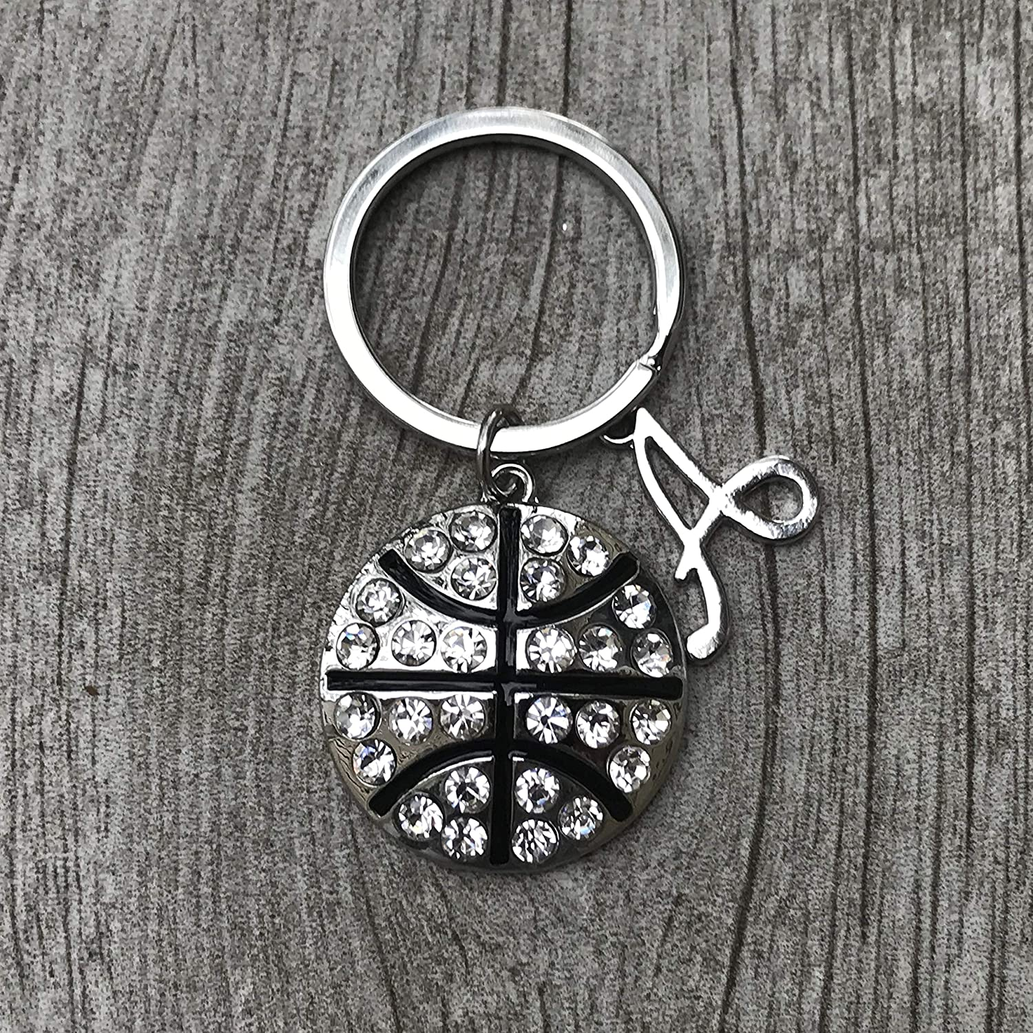 Personalized Basketball Keychain with Letter Charm- Basketball Gift- Custom  Rhinestone Basketball Jewelry for Women   Girls 7afe913e25
