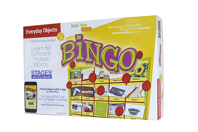 Stages Learning Materials Link4fun Real Photo Everyday Objects Bingo for Family, Preschool, Kindergarten, Elementary Education: 36 Picture Cards + App