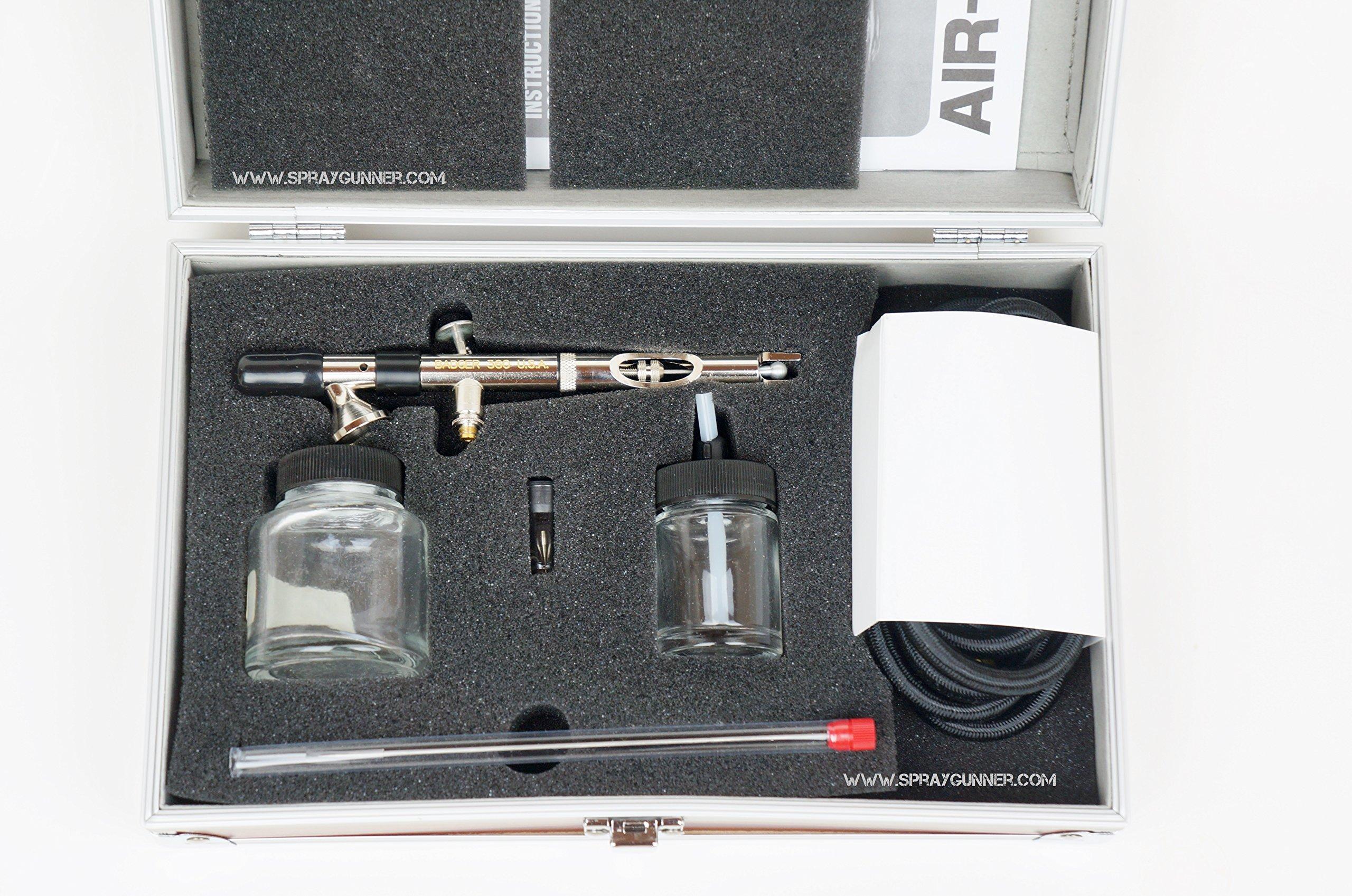 Badger 360 Universal Airbrush Set in Wood Grain Storage Case + BONUS by SprayGunner