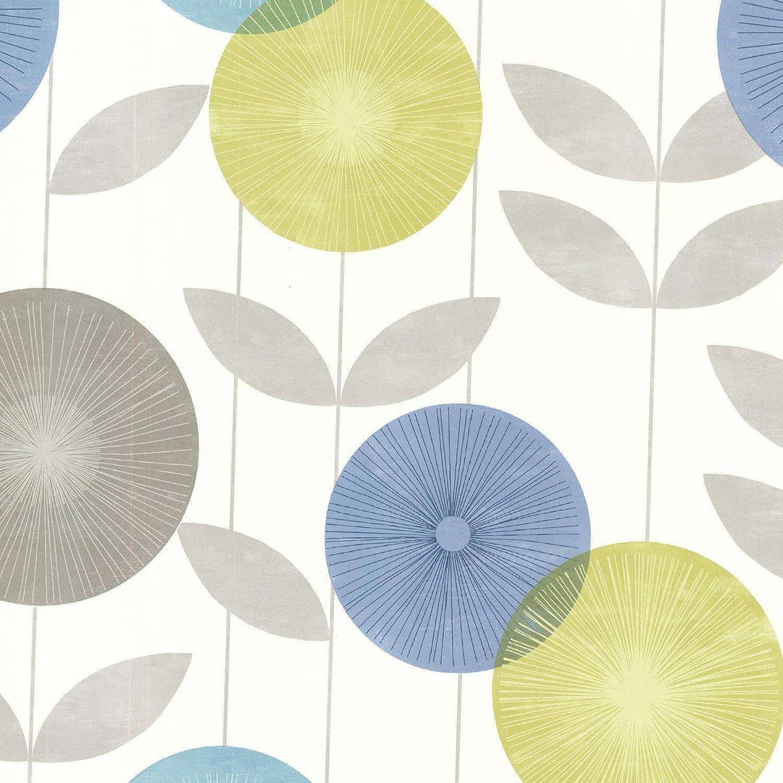 Brewster 2532 20412 Monroe Modern Floral Wallpaper Aquamarine