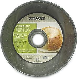 casaWare Angel Food Cake Pan 9.5-inch (15-Cup) Ceramic Coated NonStick (Silver - Granite)