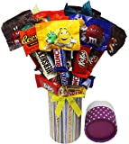 Candy Bouquet Fun Sized! Mini Candy Variety Assortment - Graduation Congratulations - Birthday Gift - Get Well Soon - Thank You