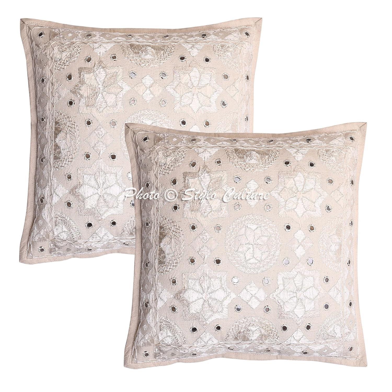 Amazon.com: Algodón indio manta fundas de almohada 16 x 16 ...