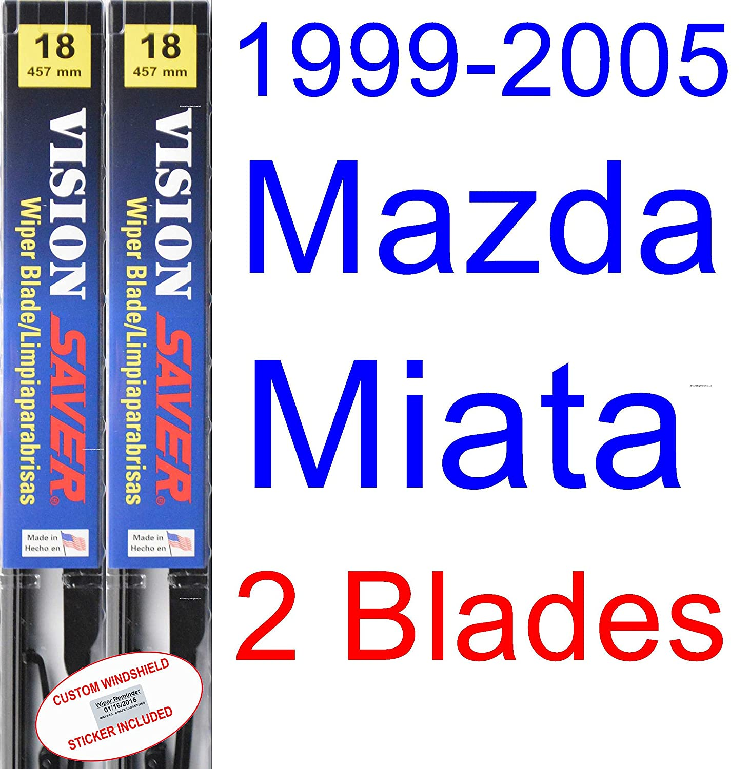 Amazon.com: 1999-2005 Mazda Miata Replacement Wiper Blade Set/Kit (Set of 2 Blades) (Saver Automotive Products-Vision Saver) (2000,2001,2002,2003,2004): ...