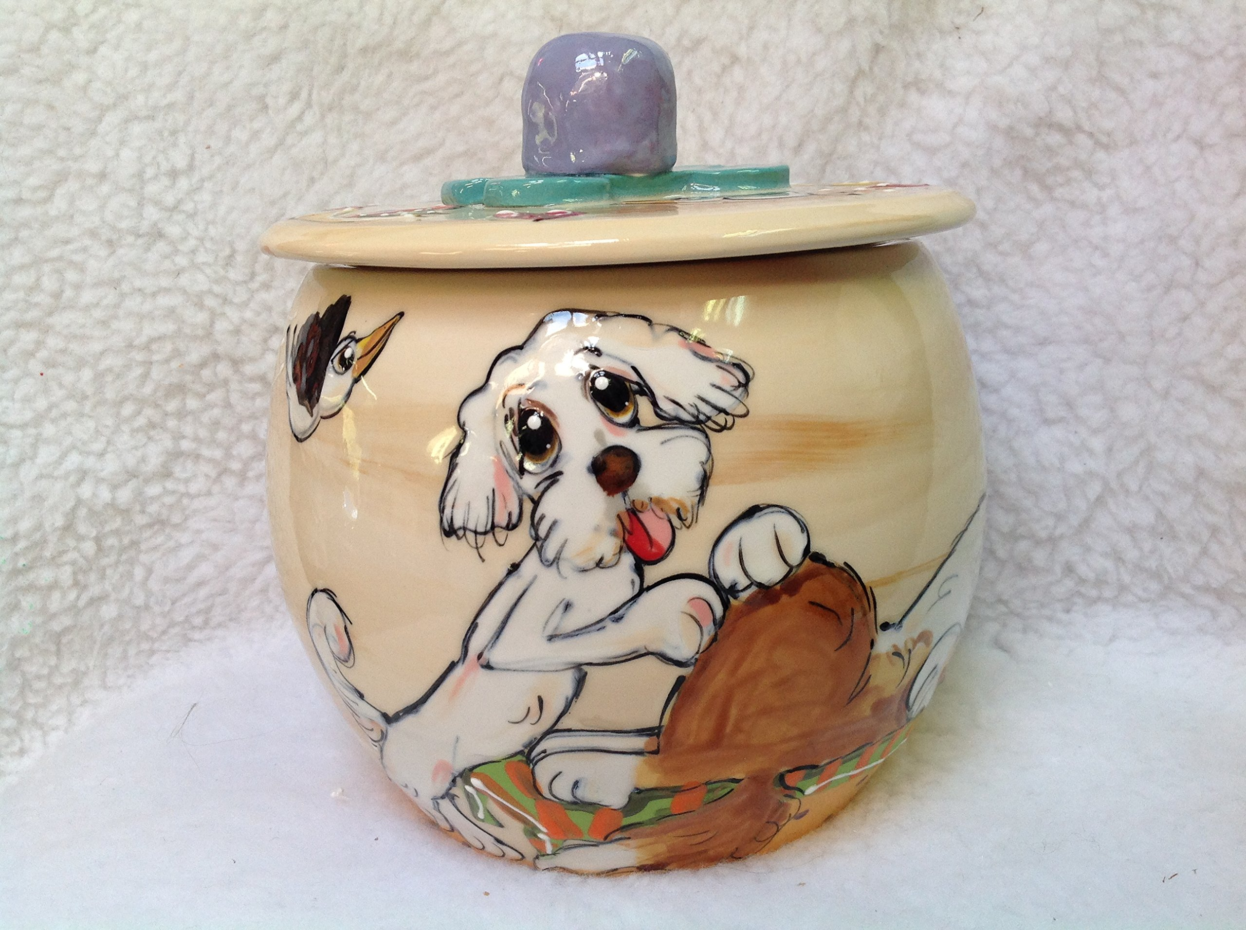 Treat Jar, West Highland Terrier. Personalized at no Charge. Signed by Artist, Debby Carman.