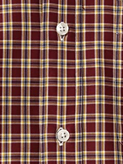 Cotton Wool Check Buttondown Shirt 5811-699-0102: Burgundy