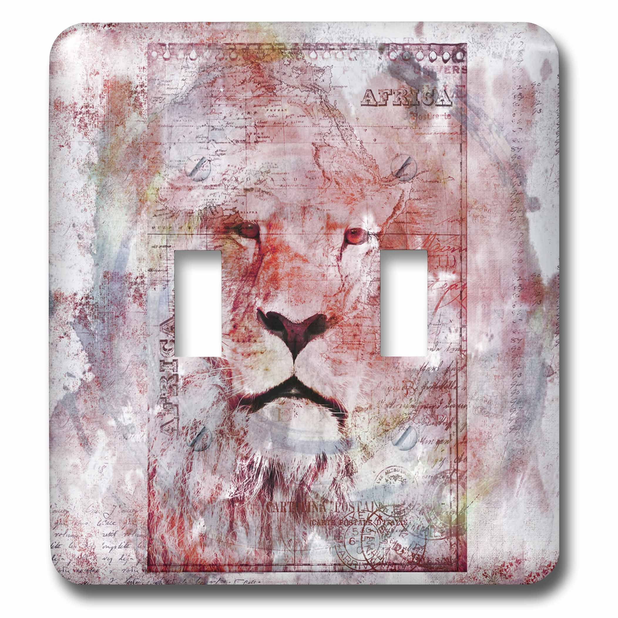 3dRose Andrea Haase Animals Illustration - Lion Watercolor Art - Light Switch Covers - double toggle switch (lsp_262968_2)