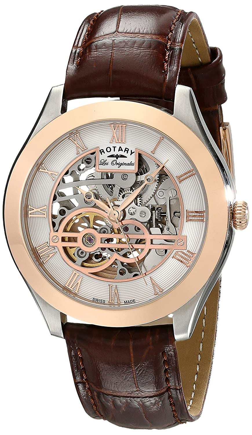 Rotary Men's Analog Display Swiss Automatic, Skeleton Watches, Swiss Made Watches, Elegant Watch, Leather Watch