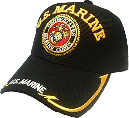 Black Duck Brand US Marine Hat with United States Marine Corps Embroider-  Baseball Cap (One Size)