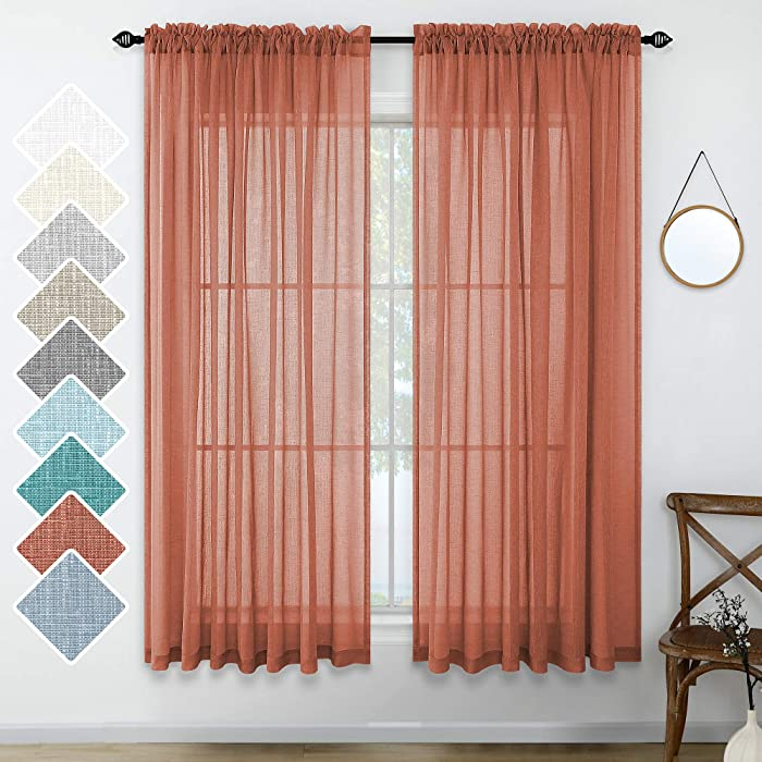 Orange Red Curtains 63 Inch Length Set of 2 Panels Rod Pocket Linen Like Sheer Drapes Beach Home Decor Terracotta Rust Curtains for Girls Bedroom Kids Room Bathroom Living Room 52x63 Inches Long