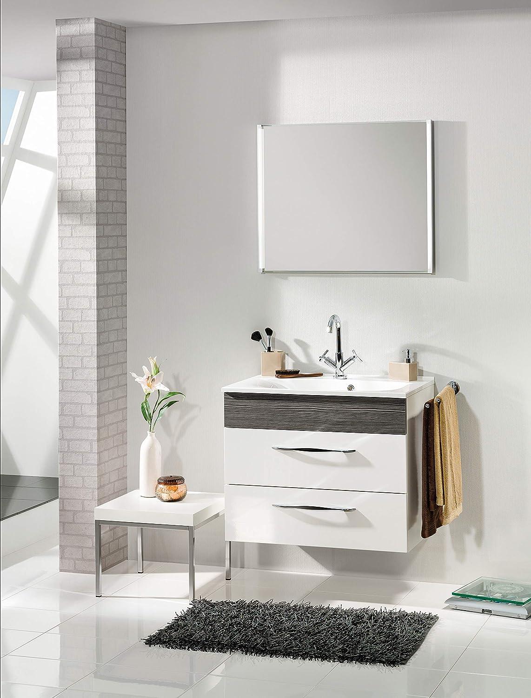 : ca B x H x T FACKELMANN Glasbecken//Waschtisch aus Glas//Ma/ße 80 x 14,5 x 50 cm//Einbauwaschbecken//hochwertiges Waschbecken f/ürs Badezimmer und WC//Farbe: Wei/ß//Breite: 80 cm