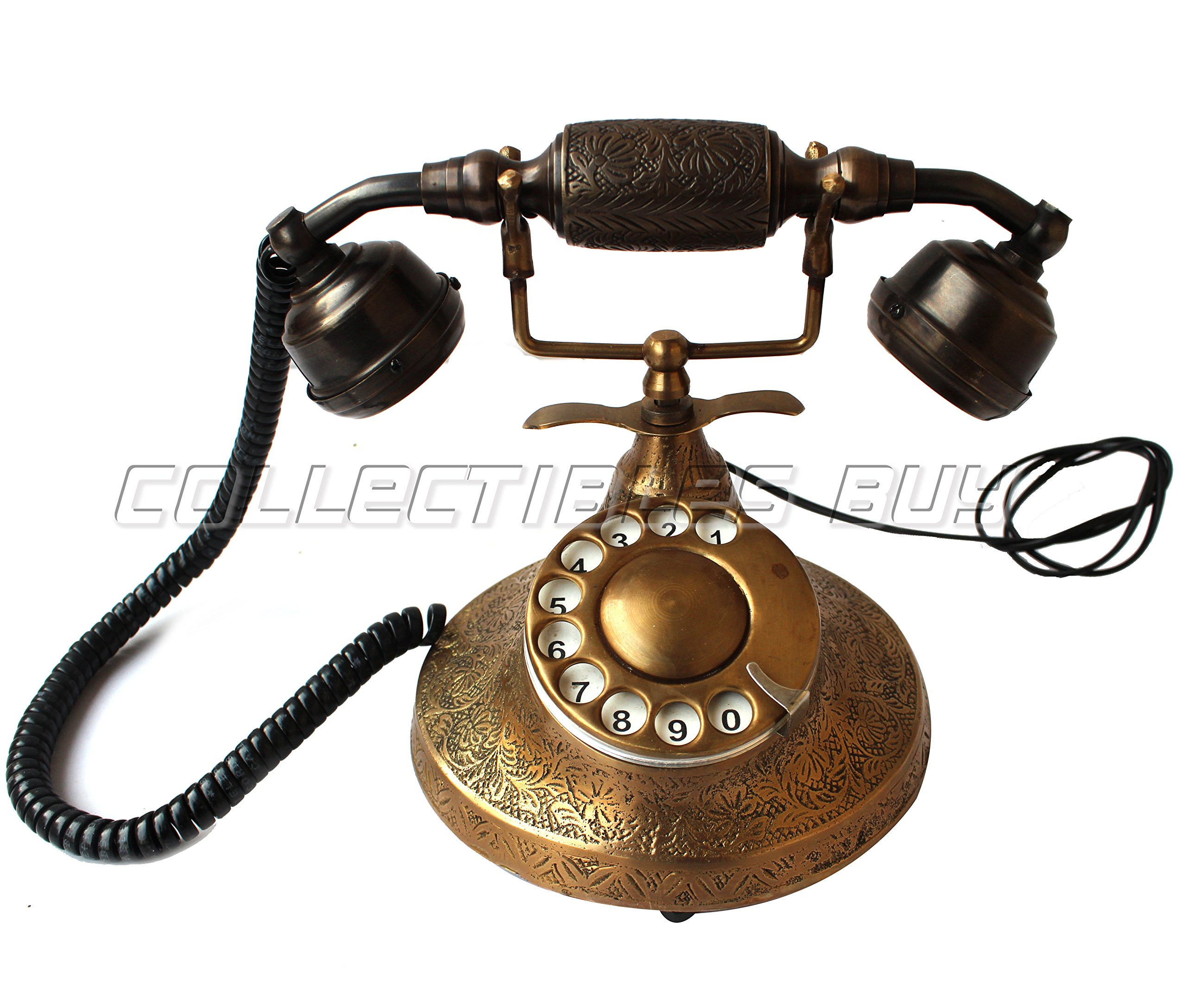 Vintage Table Decorative Telephone Copper Vintage Style Rotary Retro old fashioned Rotary Dial Home and office Telephone