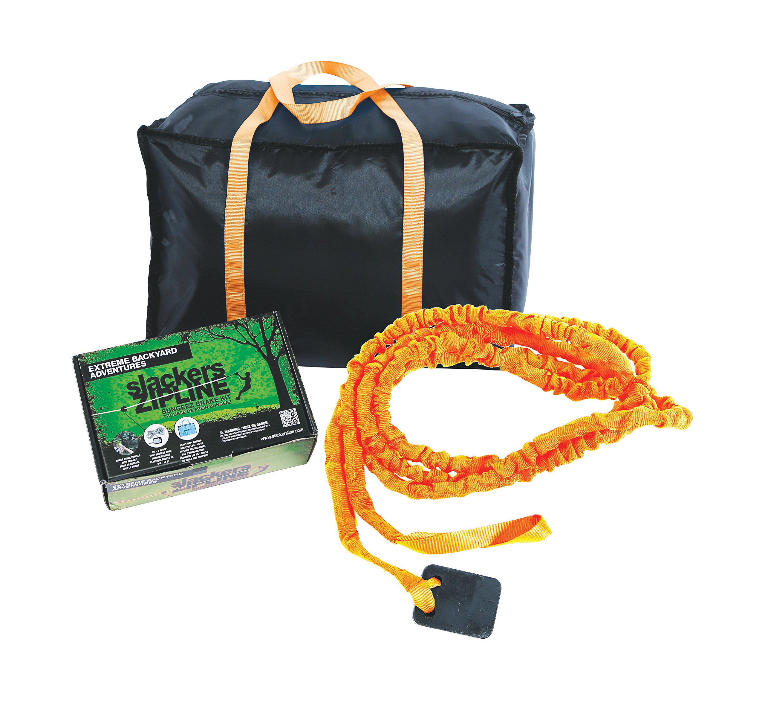 slackers Zipline Deluxe Bungeez Brake Kit, One Size, Orange/Black