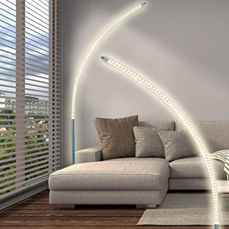 LED Design Steh Lampe Chrom Stand Strahler Wohn Zimmer Decken Fluter Beleuchtung