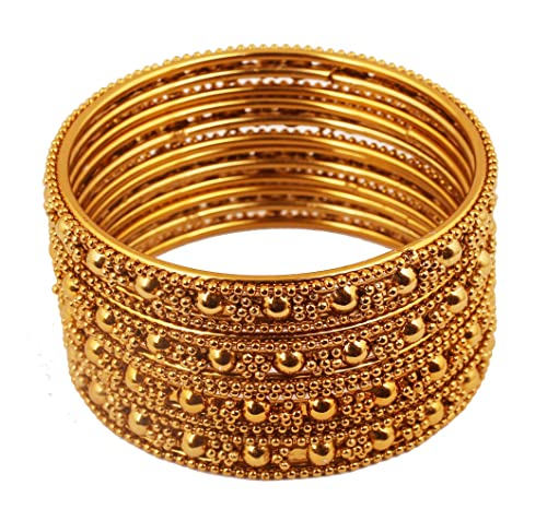 Engagement & Wedding Wedding Party Jewellery Learned Traditional Ethnic Goldtone 2pc Bangle Set Women Bracelet Indian Party Jewellery