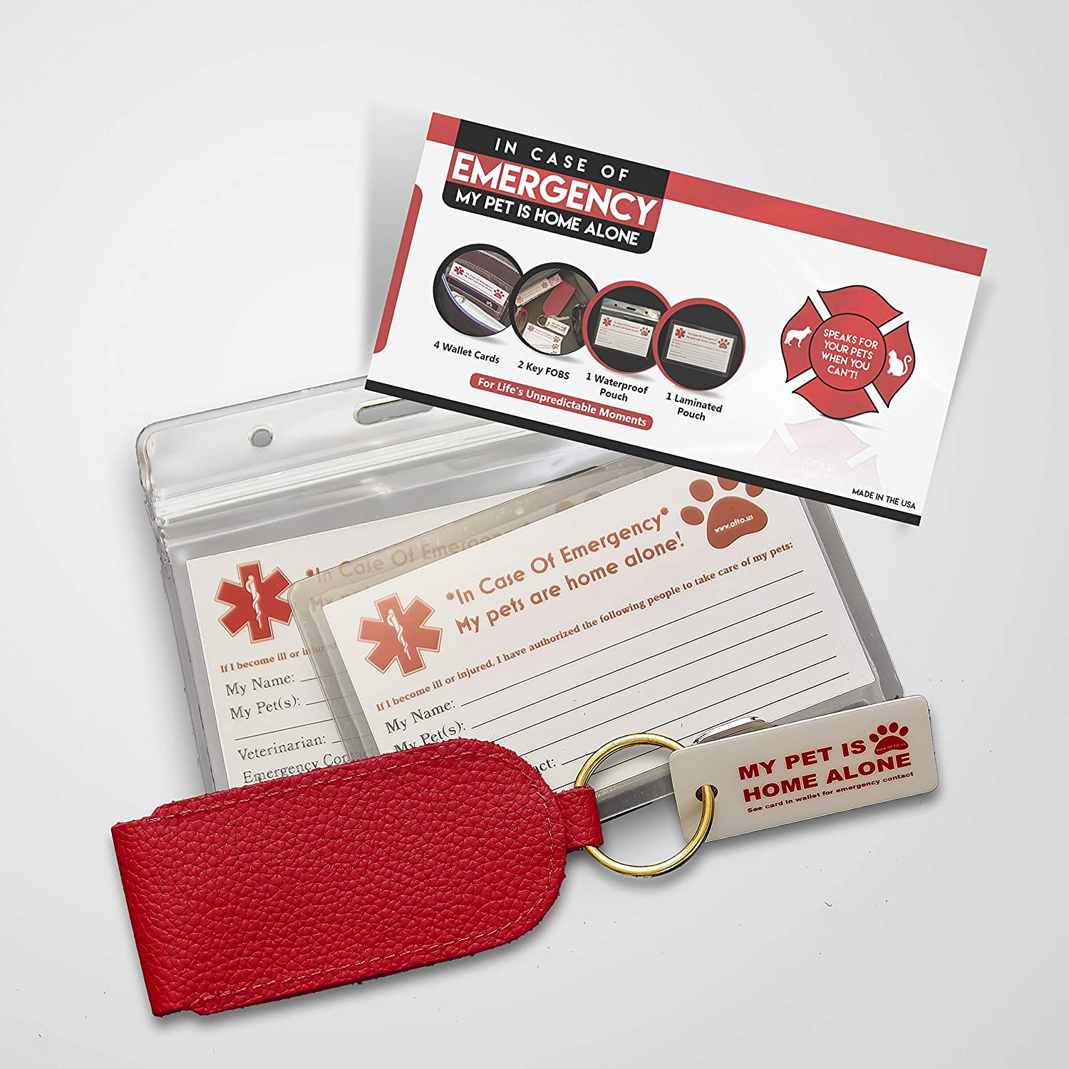 """OFTO ICE Kit - 4 Wallet-Sized In Case of Emergency Contact Cards, 2 """"My Pet is Home Alone"""" Key Fobs, a Waterproof Pouch & Self-Sealing Laminated Pouch -Use as Personal, Family, Pet Care Cards USA MADE"""