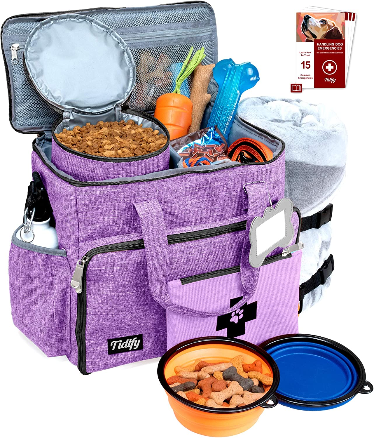 Dog Travel Bag Week Away/Overnight Accessories Organizer - Pet First Aid Pouch - Airline Approved 2 Food Storage Containers and Collapsible Bowls Water Resistant for Small, Medium & Large Dogs Purple