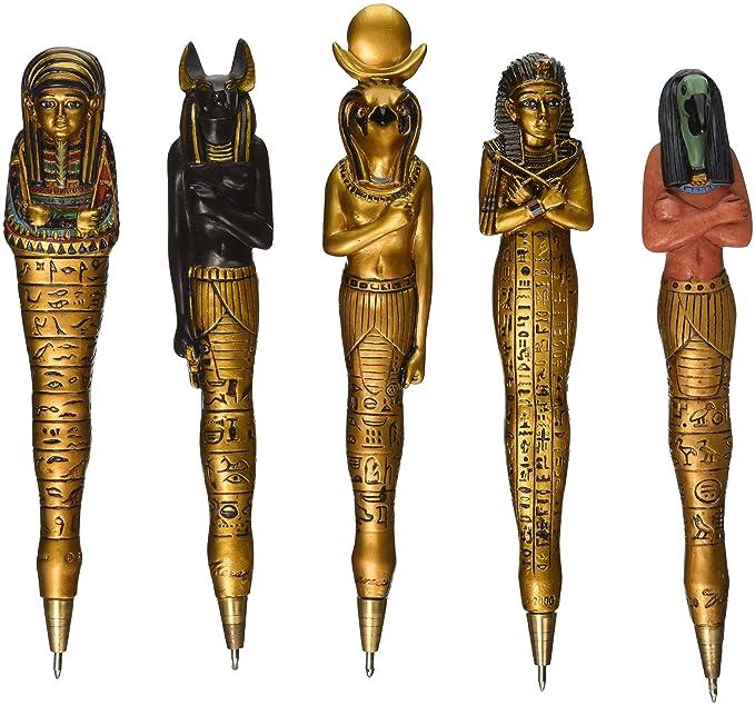 Design Toscano WU982999 Collezione di Penne Artefatti dell'Antico Egitto (Set da 5), 1.5x1.5x15 cm