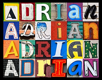 ADRIAN Personalized Name Poster Using Sign Letters Medium