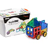 Magnetic Tiles | Magnetic Blocks for Kids | 100 Piece 3D Building Blocks with a Magnetic Car| Enhance Imagination and Creativity | Endless Possibilities |Clear Color |2 Gift Books