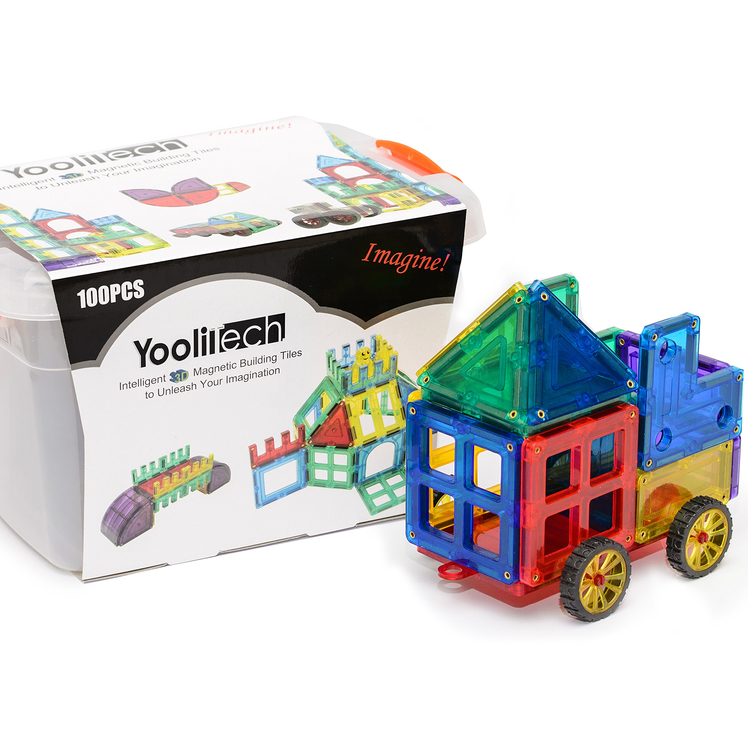 Magnetic Tiles | Magnetic Blocks for Kids | 100 Piece 3D Building Blocks with a Magnetic Car| Enhance Imagination and Creativity | Endless Possibilities |Clear Color |2 Gift Books by YooliTech (Image #1)