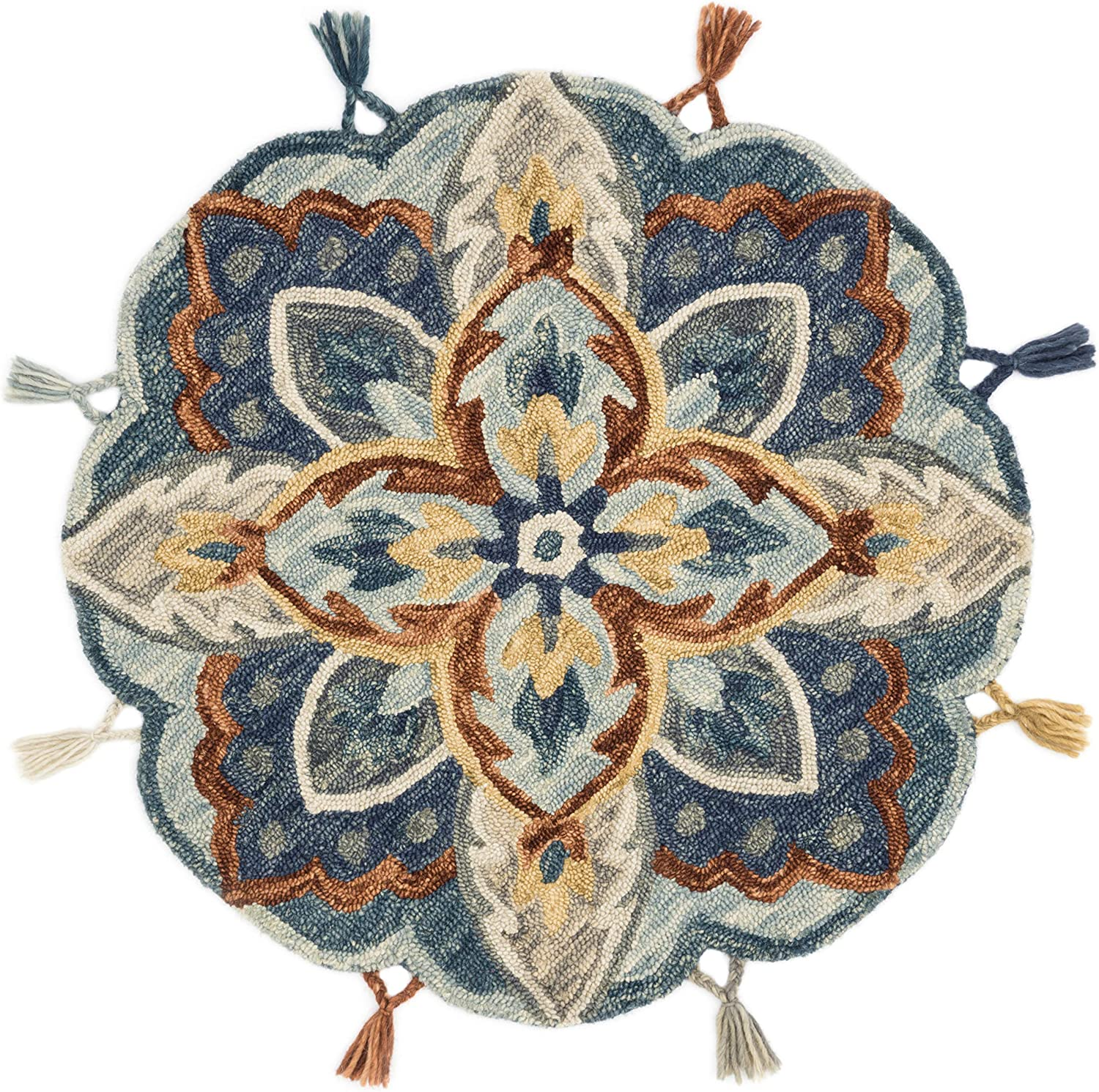 Loloi Remy Collection Round Accent Wool Area Rug, 3'x3', Blue/Multi