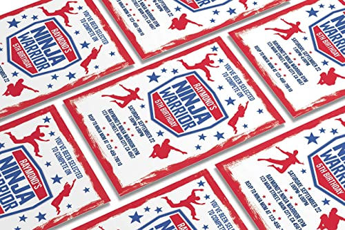 10 Custom Ninja Warrior Birthday Invitations 10 4x6in Cards 10 Free Envelopes