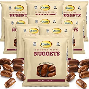 Chuster Sourdough Pretzels Nuggets   Bulk 15 Individual 100 Calorie Snack Packs   Crunchy Hard Pretzels with Salt for Snacking, Dipping, Trail Mix, Grab & Go Low Calorie Healthy Kosher Snacks