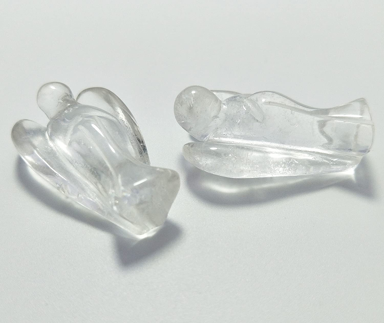 Royalty /& Spirituality Pocket Guardian Angel Statue Figurine Made Clear Quartz Gemstone Crystal Representing Purity