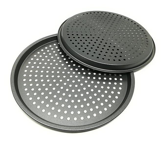Karbonstahl LS Kitchen Antihaft-Pizza-Backblech mit L/öchern /Ø 29 cm Set von 2 Pizzablech