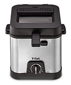 T-fal FF492D Stainless Steel 1.2-Liter Oil Capacity Adjustable Temperature Mini Deep Fryer with Removable Lid, 0.66-Pound, Silver