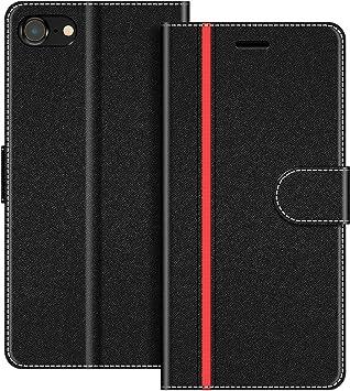 COODIO Funda iPhone SE 2020 con Tapa, Funda Movil iPhone 8, Funda Libro iPhone 7 Carcasa Magnético Funda para iPhone SE 2020 / iPhone 8 / iPhone 7, Negro/Rojo: Amazon.es: Electrónica