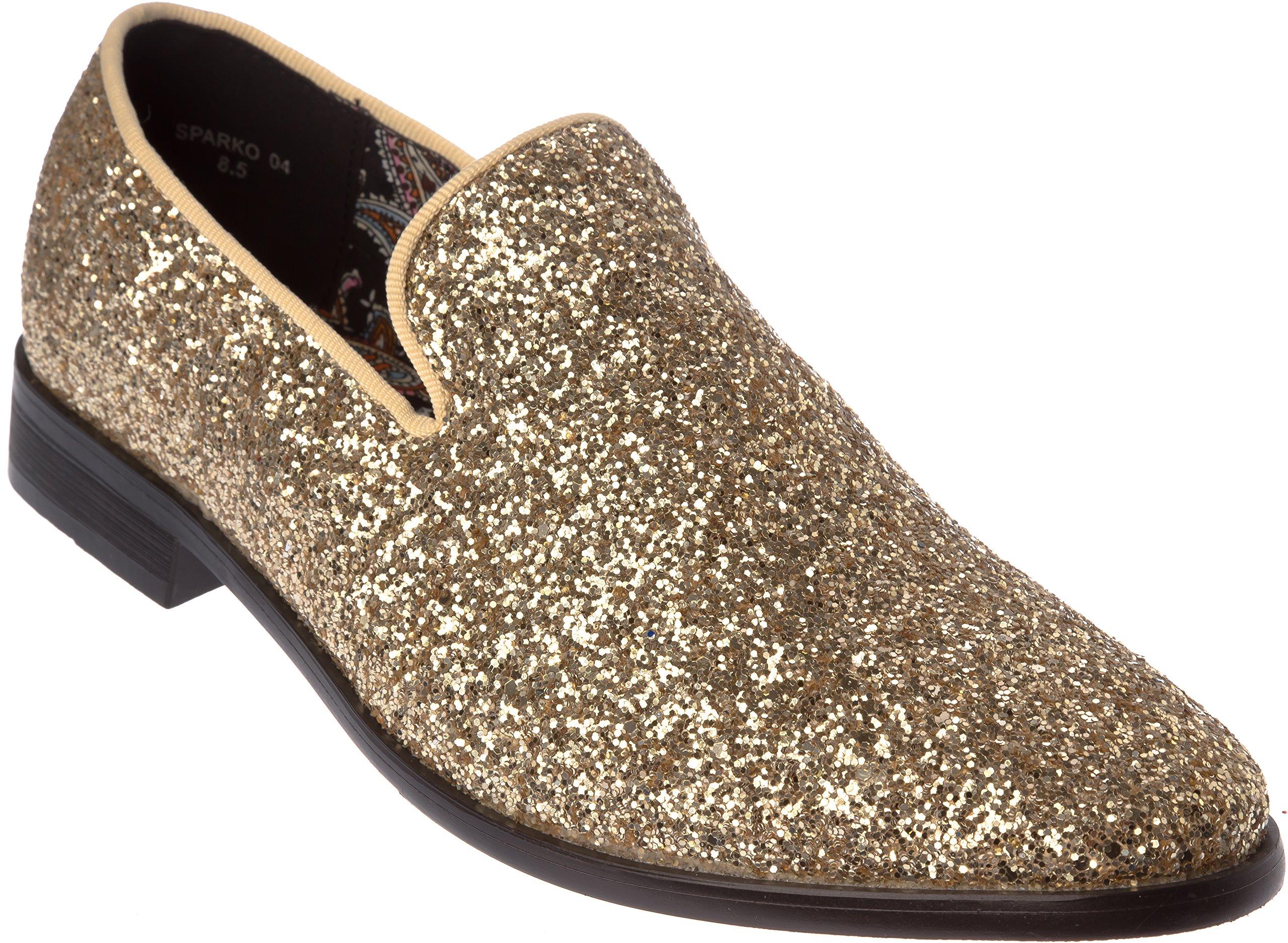 sparko04s Mens Slip-On Fashion-Loafer Sparkling-Glitter Gold Dress-Shoes Size 8.5
