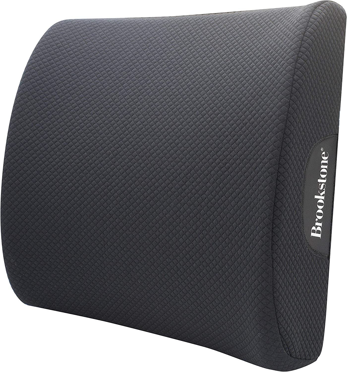 Brookstone - Luxurious Lumbar Support Pillow for Car or Office Chair, Back Cushion with Premium Grade Memory Foam, Breathable and Washable Cover, Adjustable Strap