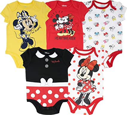 Disney Baby Girls Minnie Mouse 5 Pack Bodysuits Size 12M 18M 24M