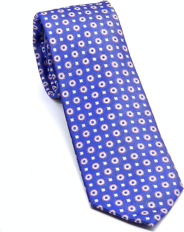 Gr/ö/ße 7 cm breit Pietro Baldini Krawatten handgefertigt Krawatte blau 100/% Seide Blau mit rosa kombiniert