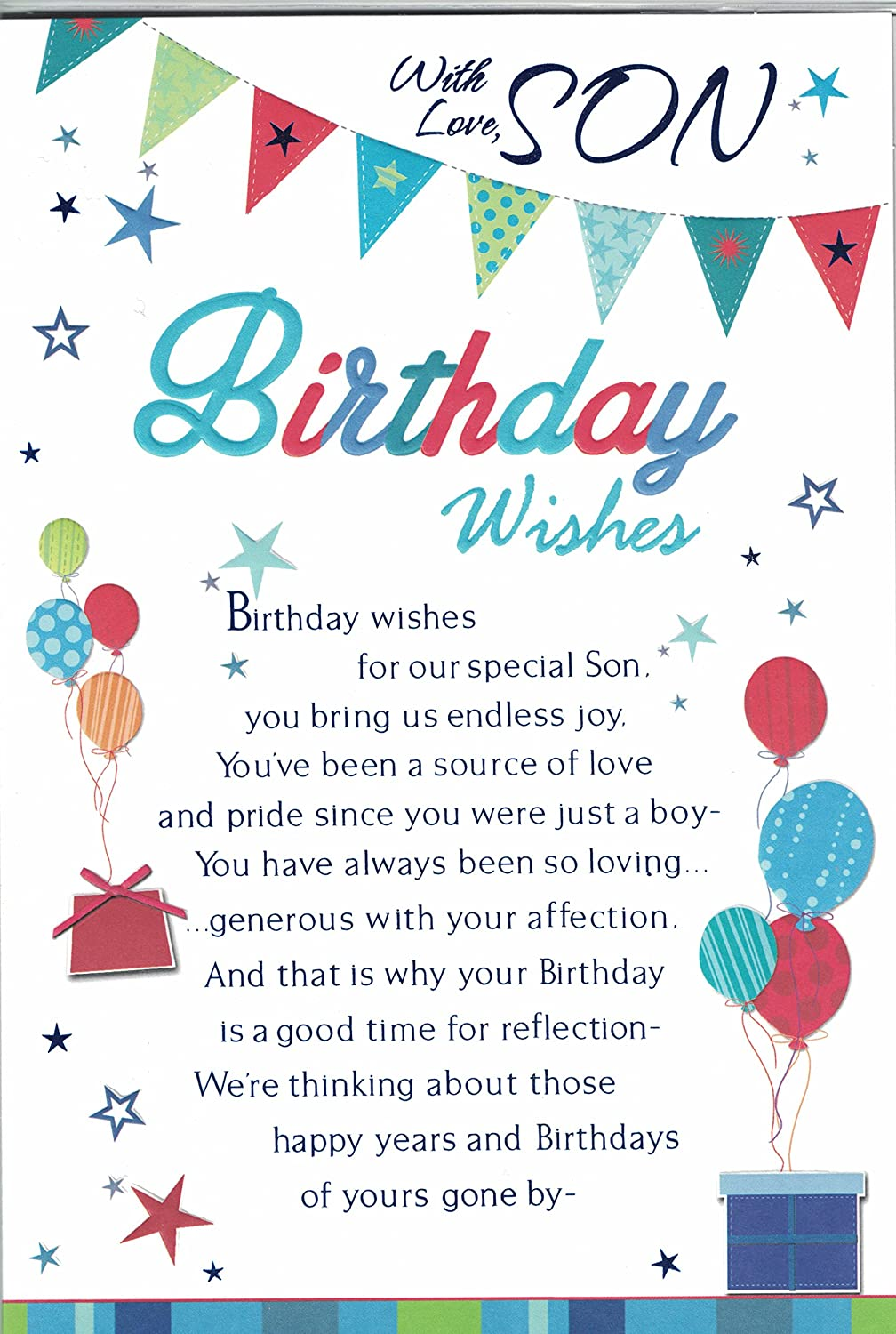 Son Birthday Card With Love To Our Son On Your Birthday Modern – Birthday Card Verses for Son