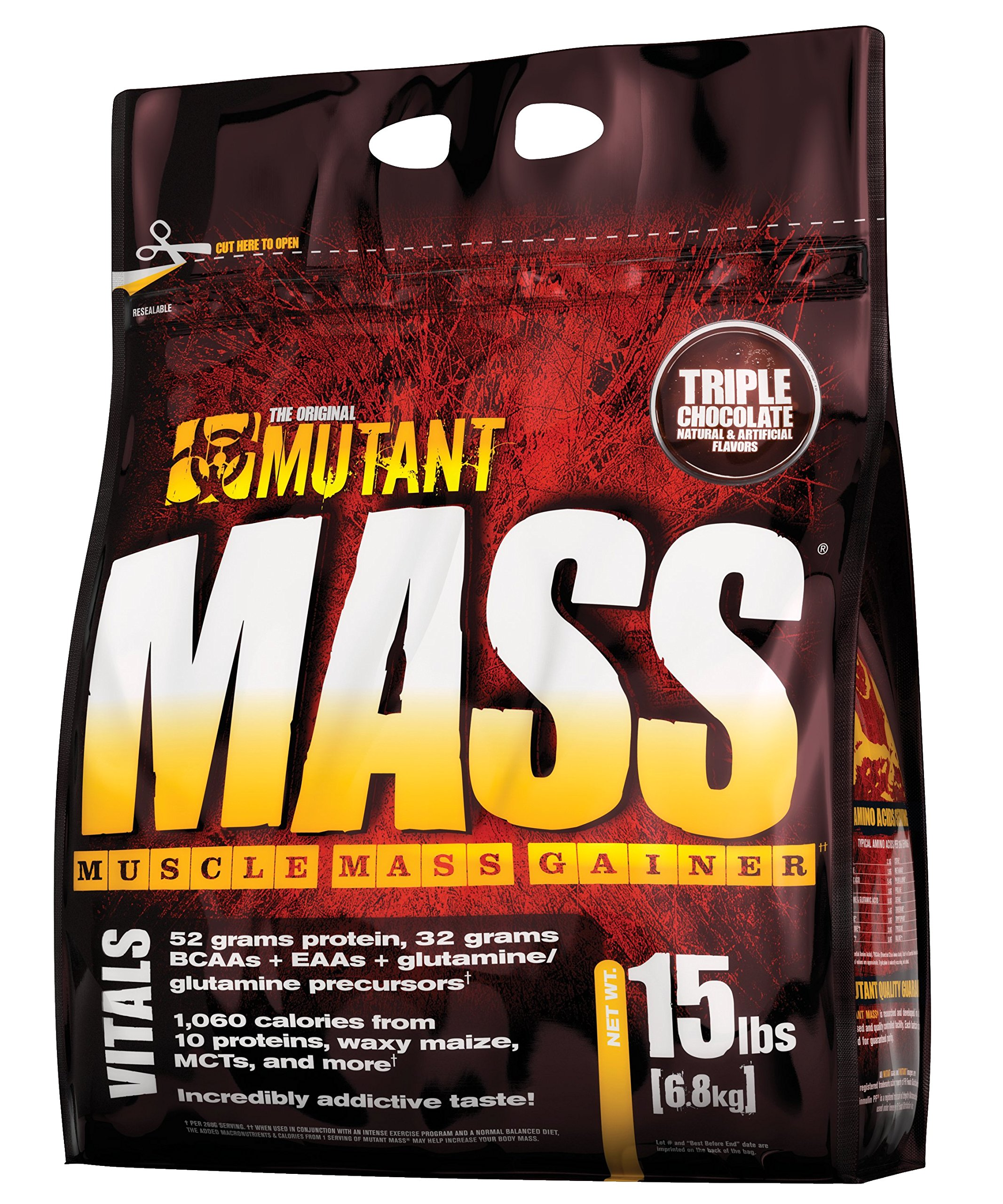 Mutant Mass, Whey Protein Weight Gainer and Muscle Builder, Triple Chocolate, 15 Pound