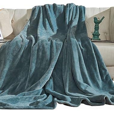Aidear 100% Super Soft Throw Blanket, 350GSM Flannel Fleece Cozy Plush Blankets Winter Warm Bed Couch Fuzzy Blanket (43 x60 , Blue Gray)