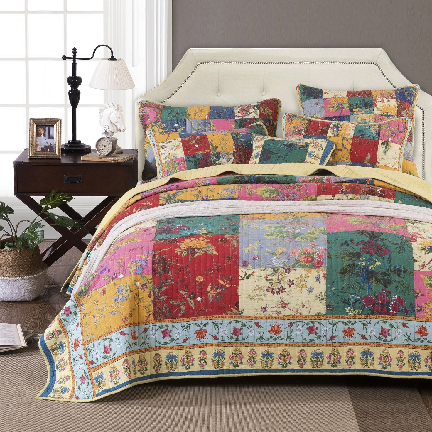 Tache Home Fashion Paradise Medley Patchwork Quilted Bedspread Set - Bright Vibrant Multi Colorful Yellow Floral Print - Full - 3-Pieces